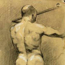 Männerakt um 1900 Art Nouveau Akt Akademie Zeichnung France Handzeichnung