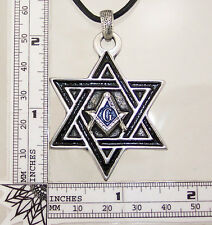 Star Of David Masonic Jewish Star Freemason Pewter Pendant Mason Hexagram Charm