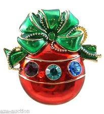 Multicolor Rhinestone Ornament Pendant Brooch Pin -COMES IN Christmas GIFT BOX