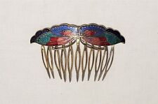 VINTAGE CHINESE CLOISONNE ENAMEL HAIR COMB BUTTERFLY BRASS