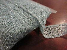 VTG lace flat light blue with silver metallic trim 1 7/8'' wide  poly 10 yards