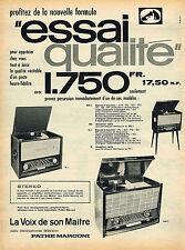 PUBLICITE ADVERTISING 025  1959  PATHE MARCONI STEREO   hi-fi  récépteur clavier