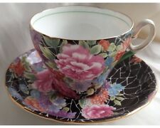 Rare Shelley Black Cloisonne Crackle Chintz Cup and Saucer