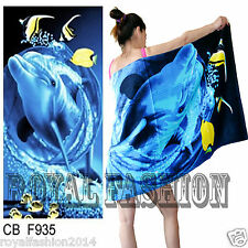 Light Weight Beach Bath Towel 100%Cotton Holiday DOLPHIN Print Sports Swim Towel