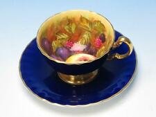 Aynsley Bone China - Cobalt Blue Hand Painted Fruits - D Jones - Cup and Saucer