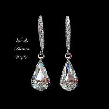 925 Sterling Silver Swarovski Clear Crystal Tear Drop Earrings Wedding Pear 34mm