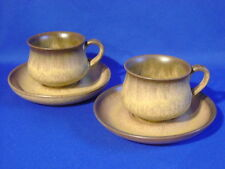 DENBY STONEWARE ROMANY BROWN 2 CUP & SAUCER SETS