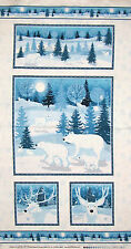 Winter Frost Forest Animal Snow Christmas Fabric Henry Glass & Co #9692P PANEL
