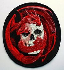 RED DRAGON SERPENT SKULL - SEW ON BIKER MOTORCYCLE PATCH 88mm by 80mm