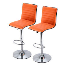 Set of 2 Swivel Bar Stool Modern Adjustable Height Hydraulic Diner Chair Orange