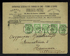 1907 Ciney Belgium Advertising Cover to Hannover Germany Emmanuel Pottiez Judaic