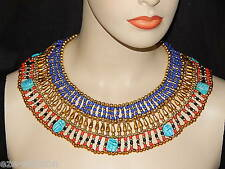 EGYPTIAN PHARAOH'S CLEOPATRA NECKLACE WITH 7 SCARABS - MEN, WOMEN