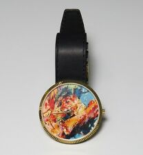 LEROY NEIMAN LEOPARD GOLD/MULTICOLOR/BLACK GENUINE LEATHER STAINLESS STEEL WATCH