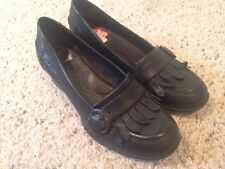 Womens Born Brand Lissette Black Leather Loafer Shoe Fringed US 6.5 Med