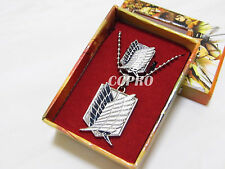Anime Attack on Titan scouting corps wings of liberty ring & necklace kit w/ box