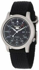 Seiko Men's Seiko 5 Automatic Black Canvas Strap Luminescent Face Watch SNK809