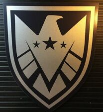 """• THE REAL SHIELD • 3""""  4"""" SET • METALLIC SILVER • PROP DECALS • MARVEL AGENTS •"""