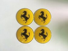 4PCS 65MM Ferrari  Wheel Center Hub Caps Emblem Yellow Badge Decals Stickers