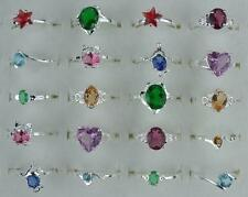 wholesale lots 10Pcs mixed NF 925 Silver plated Crystal Rings 6-8 II