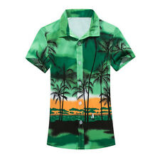 Summer Mens Short Sleeve Casual Shirt Men's Beach Hawaii Shirts Floral Clothes