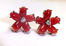 Natural Untreated Oxblood Red Coral Diamond Flowers 14K Gold Post Earring Studs