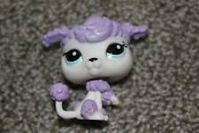 Littlest Pet Shop Purple White French Poodle #1862 LPS Dog Toy Puppy Blue Eyes