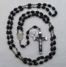 """† VINTAGE 7 DECADE FRANCISCAN CROWN ROSARY"""" OVAL BLACK WOOD ST FRANCIS & MEDAL †"""