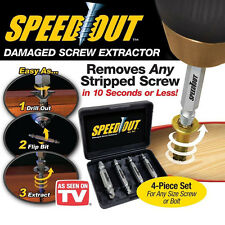 4-Piece Damaged Screw Extractor Ezy Set Easy Out Broken Screw Bolt Remover Kit