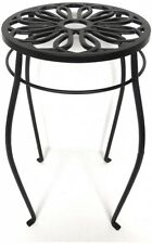 Plant Stand Vintage Metal Table Iron Pedestal Black Round Indoor Outdoor Decor