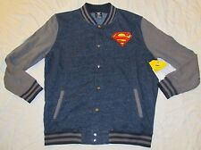 MENS JACKET DC COMICS LARGE SUPERMAN MAN OF STEEL BUTTON FRONT FULL JLA 42/44 LG