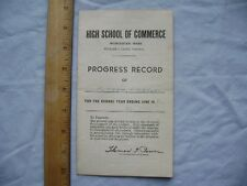 1951 Worcester, Mass. High School of Commerce Progress Record (Report Card)
