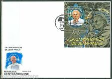 CENTRAL AFRICA 2014 CANONIZATION OF POPE JOHN PAUL II  S/S  FIRST DAY COVER