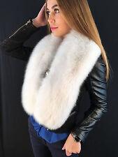 Arctic Fox Fur Stole. BOA 51 inches. SAGA FURS. Pure White Big Collar.