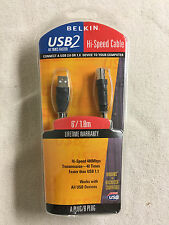 NEW Belkin Pro Series 6' USB 2.0 Hi-Speed Cable A / B Male F3U133-06 Black Foot
