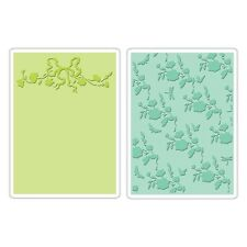 SIZZIX TEXTURED EMBOSSING FOLDERS ARBOR & GARDEN ROSES SET 659250 REDUCED