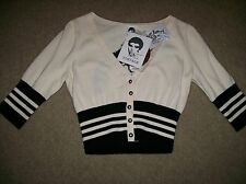 NWT Betsey Johnson  Punk Vintage Label Cropped Cardigan Sweater M