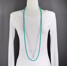 "Turquoise super extra long bead 46"" necklace beaded wrap double look Aqua"