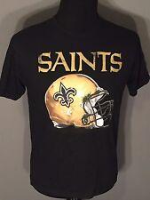 New Orleans Saints Logo NFL Football Helmet Design Reebok Youth XL Black T-shirt