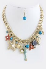 D27 Gold & Turquoise Seashell Starfish Seahorse Charm Necklace Boutique