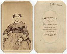 LADY WELL DRESSED W/ MOTHER OF PEARL LACQUER CASE LOUISVILLE, KY, ANTIQUE CDV