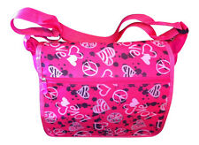 Girls College School Messenger Shoulder Despatch Bag Pink Love Hearts Design