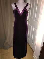 david meister STUNNING eggplant burgundy velvet silk trim ball dress 6 EUC