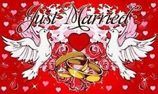 Just Married Hochzeit Fahne Flagge mit Tauben NEU wunderschöne Deko NEU 1,50m