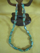 """17"""" Green Ajax Turquoise Nugget Necklace with Sterling Silver Closure"""