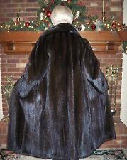 """Lovely Natural Black MINK Fur Coat Full 50"""" Length  XL 14 16  Excellent"""