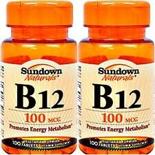 2 BOTTLES VITAMIN B-12 CYANOCOBALAMIN 100mcg DIETARY SUPPLEMENT 200 TABLETS LOT