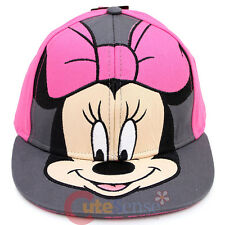 Disney Minnie Mouse Big Face Snapback Hat Flat Bill Cap -  Teen Adults Size