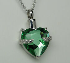 GREEN HEART CREMATION URN NECKLACE CREMATION JEWELRY MAY BIRTHSTONE MEMORIAL URN