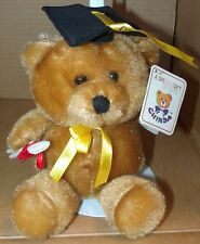 "graduation bear brown Chinda NWT Cap and Diploma 8"" plush stuffed animal"