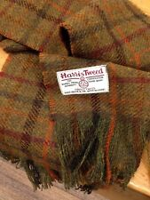 Harris Tweed Wool Scarf Khaki Rust Burgundy Orange Forest